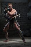 Gladiator με την ασπίδα και το τσεκούρι Στοκ φωτογραφία με δικαίωμα ελεύθερης χρήσης