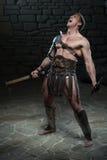 Gladiator με την ασπίδα και το τσεκούρι Στοκ Εικόνες
