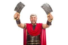 Gladiator με το μαχαίρι του χασάπη που απομονώνεται στο λευκό Στοκ Φωτογραφία
