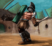 The gladiator. Gladiator in the stadium in a fight, he has a sword in his hand Royalty Free Stock Images
