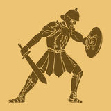 Gladiator. In carved style illustration Royalty Free Stock Image
