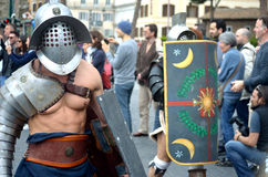 Gladiator at ancient romans historical parade Royalty Free Stock Images