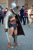 Gladiator at ancient romans historical parade. For the birth of city of Rome 21st of april  at circus maximus in Romen Royalty Free Stock Images