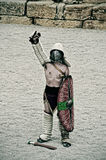 Gladiator on the arena of Roman Amphitheater of Tarragona, Spain Stock Photos