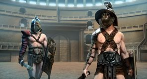 Gladiator arena scene 3D illustration. Gladiators in an arena scene 3D illustration royalty free illustration