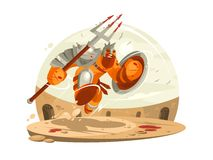 Gladiator in armor with shield. And battle in arena. Vector illustration stock illustration
