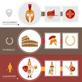 Gladiator Banner Set. Gladiator horizontal banner set with warrior accessories elements isolated vector illustration royalty free illustration