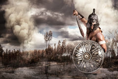 Gladiator in a battle Stock Photo