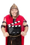 Gladiator with clapboard isolated on white Royalty Free Stock Image