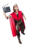 Gladiator with clapboard isolated on the white Stock Photos