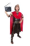 Gladiator with clapboard isolated on the white Stock Images