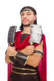 Gladiator with cleaver isolated on white Royalty Free Stock Photo