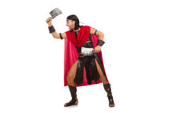 Gladiator with cleaver isolated on white Royalty Free Stock Images