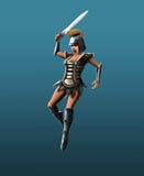 Gladiator dziewczyna, dźgnięcie w skoku Fotografia Stock