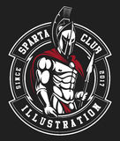 Gladiator emblem. On black background. Text is on the separate layer vector illustration