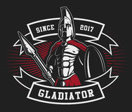 Gladiator emblem with a spear Royalty Free Stock Photo