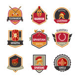 Gladiator Emblems Set. With spartan fighting symbols isolated vector illustration Royalty Free Stock Photography
