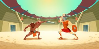 Free Gladiator Fight With Barbarian On Coliseum Arena Royalty Free Stock Image - 161793556