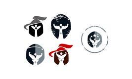 Gladiator Fitness Solutions Set. Vector royalty free illustration