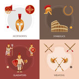 Gladiator Flat Set. Gladiator design concept set with weapons and symbolics flat icons  vector illustration Stock Images