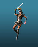 Gladiator girl, jab in the jump. Gladiator girl makes a jab in the jump Stock Photography