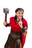 Gladiator with hammer isolated on white Royalty Free Stock Photography