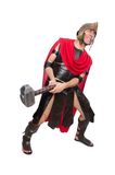 Gladiator with hammer isolated on the white Stock Photo