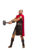 Gladiator with hammer isolated on white Stock Photos