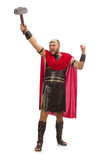 Gladiator with hammer isolated on white Stock Photo