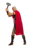 Gladiator with hammer isolated on white Royalty Free Stock Photo
