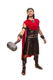 Gladiator with hammer isolated on white Royalty Free Stock Photos