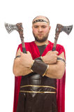 Gladiator with hatchet isolated on white Stock Images