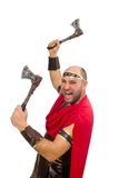 Gladiator with hatchet isolated on white Stock Photography