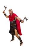 Gladiator with hatchet isolated on white Stock Image
