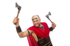 Gladiator with hatchet isolated on white Stock Photos