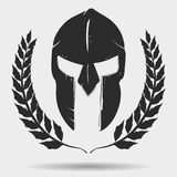 Gladiator helmet with laurel wreath. Spartan Warrior silhouette with laurel wreath,  Knight helmet, gladiator icon. Vector Royalty Free Stock Photos