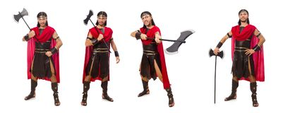 The gladiator holding ax isolated on white Stock Photography