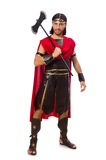 Gladiator holding ax isolated on white Stock Images