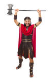Gladiator holding ax isolated on white Stock Photos