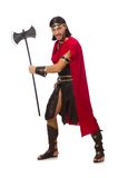 Gladiator holding ax isolated on the white Royalty Free Stock Photos