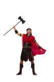 Gladiator holding ax isolated on the white Royalty Free Stock Image