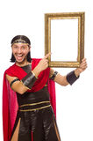 Gladiator holding picture frame isolated on white Royalty Free Stock Image