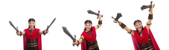 The gladiator holding sword isolated on white Stock Photos