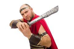 Gladiator holding sword isolated on white Royalty Free Stock Image