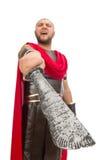 Gladiator holding sword isolated on white Stock Photo
