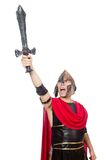 Gladiator holding sword isolated on the white Royalty Free Stock Images