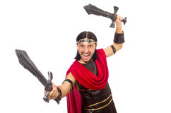 Gladiator holding sword isolated on white Royalty Free Stock Photo