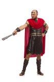 Gladiator holding sword isolated on white Royalty Free Stock Photos