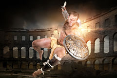 Gladiator i arenan arkivbild