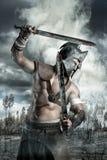 Gladiator i en strid royaltyfri bild
